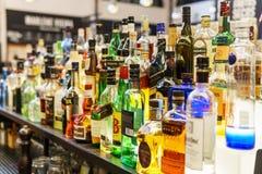 Alcohol Bottles On Restaurant Drink Bar Stock Photo