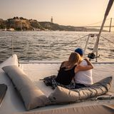 Sunset Cruise on the River Tagus; Lisbon, Portugal royalty free stock photography