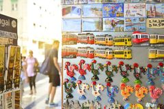 Lisbon, Portugal - August 06, 2017: Colorful Ceramic Tiles Magnets Souvenirs Handicrafts tram. At the stand in the city royalty free stock image