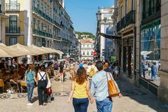 Everyday Life In Busy Downtown Lisbon City Of Portugal. LISBON, PORTUGAL - AUGUST 09, 2017: Everyday Life In Busy Downtown Lisbon City Of Portugal royalty free stock photography
