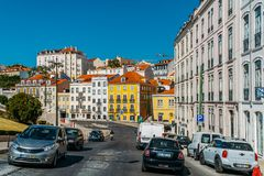 Everyday Life In Busy Downtown Lisbon City Of Portugal Stock Images