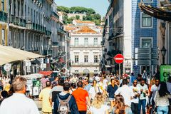Everyday Life In Busy Downtown Lisbon City Of Portugal. LISBON, PORTUGAL - AUGUST 09, 2017: Everyday Life In Busy Downtown Lisbon City Of Portugal royalty free stock images