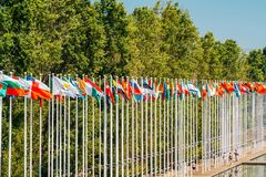Flags Of The World at Expo 98 Near Vasco de Gama Shopping Centre. LISBON, PORTUGAL - AUGUST 10, 2017: Flags Of The World at Expo 98 Near Vasco de Gama Shopping royalty free stock photos