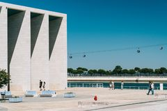 Portuguese National Pavilion In Lisbon By Alvaro Siza Vieira. LISBON, PORTUGAL - AUGUST 10, 2017: Portuguese National Pavilion In Lisbon Was Built By Alvaro Siza Royalty Free Stock Photo