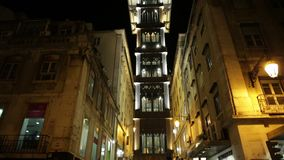 Santa Justa Elevator. Lisbon, Portugal - August 24, 2017: scenic iron structure of Santa Justa Elevador also called Carmo, an elevator connecting Baixa district stock video footage