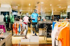 Sport Apparel And Equipment For Sale In Shopping Mall stock photo