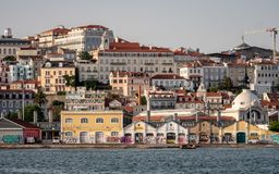 The steep streets of Lisbon from the River Tagus stock images