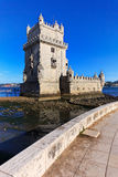 Lisbon, Portugal: Belem Tower. Belem Tower is a fortified tower located in Tagus riverside in Lisbon, Portugal. Belem Tower is a Unesco World Heritage Site Royalty Free Stock Photo
