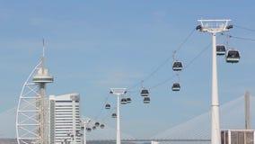 lisbon portugal Cablewayen på parkerar av nationerna och Oceanariumen stock video