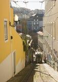 Lisbon, Portugal: Calçada do Lavra and its funcular 132 years old Stock Photos
