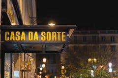 Lisbon, Portugal - 12/26/18: Casa da Sorte, luck shop downtown Lisbon royalty free stock photo