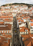 Lisbon, Portugal: The castle hill and downtown Stock Photography
