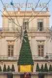 Lisbon, Portugal - 12/26/18: Christmas decorations downtown Lisbon Mall royalty free stock photo