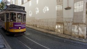 Lisbon, portugal - circa october 2018: tradtional tram for public transport. Lisbon, portugal - circa october 2018: tradtional old tram for public transport in royalty free stock images
