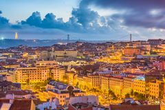Lisbon, Portugal City Skyline. Over the Baixa district royalty free stock photography