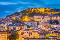 Lisbon, Portugal City Skyline. With Sao Jorge Castle and Tagus River stock photography