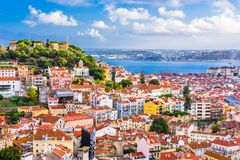 Lisbon, Portugal City Skyline. With Sao Jorge Csatle royalty free stock images