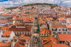 Lisbon, Portugal city skyline over Santa Justa Rua.  royalty free stock images