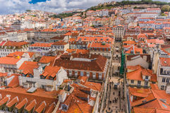 Lisbon, Portugal city skyline over Santa Justa Rua Royalty Free Stock Photography