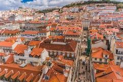Lisbon, Portugal city skyline over Santa Justa Rua.  royalty free stock photography
