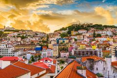 Lisbon, Portugal City Skyline. With Sao Jorge Castle at dawn royalty free stock photo