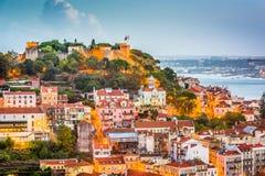 Lisbon, Portugal City Skyline. With Sao Jorge Castle and Tagus River stock photos