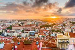 Lisbon, Portugal City Skyline. At sunset over the Baixa District stock images
