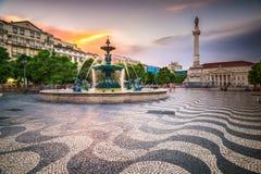 Lisbon, Portugal City Square. Lisbon, Portugal cityscape at Rossio Square Royalty Free Stock Photo