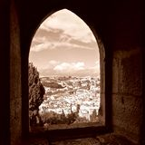 LISBON PORTUGAL CITY VIEW THROUGH A WINDOW Royalty Free Stock Photography