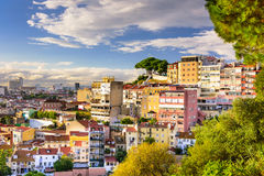 Lisbon, Portugal Cityscape. Lisbon, Portugal hillside cityscape in the afternoon Stock Photography