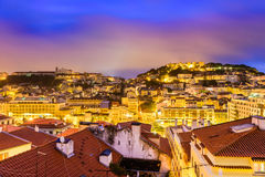 Lisbon, Portugal Cityscape. Lisbon, Portugal skyline at night Royalty Free Stock Images