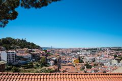 Lisbon portugal cityscape at sunset Royalty Free Stock Image