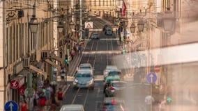 Lisbon Portugal classic tram transport car summer street road traffic. Fast movement stock footage
