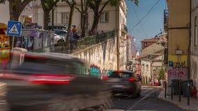 4k Lisbon Portugal Elevador de Santa Justa motion timelaspe hyperlapse summer. Lisbon Portugal classic tram transport car summer street road traffic fast stock video