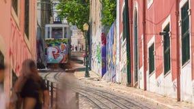 Lisbon Portugal classic tram transport summer street road traffic. Lisbon Portugal classic tram transport summer street stock video