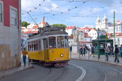 Lisbon, Portugal. Classical yellow tram Royalty Free Stock Photography