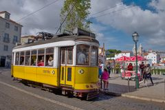 Lisbon, Portugal. Classical yellow tram Stock Photography