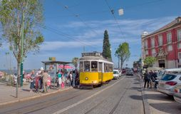 Lisbon, Portugal. Classical yellow tram Royalty Free Stock Image