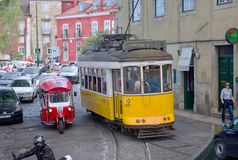 Lisbon, Portugal. Classical yellow tram No, 12 Stock Images