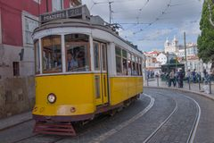 Lisbon, Portugal. Classical yellow tram No, 28 Royalty Free Stock Photography