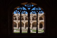 Lisbon, Portugal - Cloister of the Jeronimos Monastery or Abbey in Lisbon, Portugal Stock Images