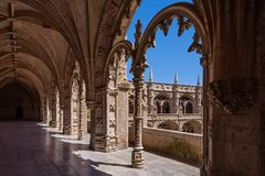 Lisbon, Portugal - Cloister of the Jeronimos Monastery or Abbey in Lisbon, Portugal Royalty Free Stock Image