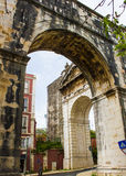 Lisbon, Portugal: the corner of the hoary aquaduct in Amoreiras quarter Royalty Free Stock Photos