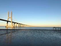 Lisbon. Portugal. 25 de Abril Bridge. Sunrise Stock Photography