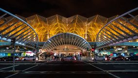 Lisbon, Portugal - December, 30, 2017 - Modern architecture at the Oriente Station by Santiago Calatrava. Lisbon is the capital and the largest city of Royalty Free Stock Images