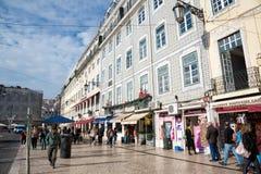 LISBON shopping in praca da Figueira stock image