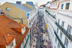People Lisbon shopping street. Portugal Royalty Free Stock Photography