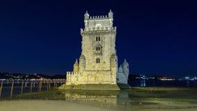 lisbon portugal Det Belem tornet (Torre de Belem) är stock video