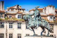 Lisbon, Portugal. Equestrian statue of King John I in the Praca Stock Photography