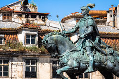 Lisbon, Portugal. Equestrian statue of King John I in the Praca Royalty Free Stock Photo